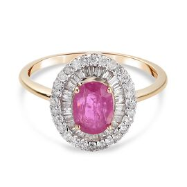 9K Yellow Gold Natural Mozambique Ruby and Diamond Ring 1.29 Ct.