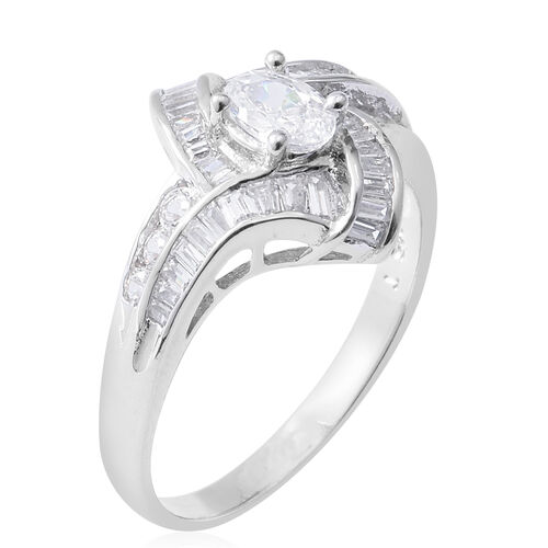 ELANZA Simulated Diamond (Ovl, Rnd and Bgt) Ring in Rhodium Overlay Sterling Silver