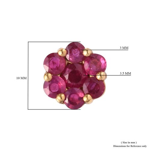 African Ruby (Rnd ) Pressure Set Floral Stud Earrings (with Push Back) in 14K Gold Overlay Sterling Silver 2.50 Ct.