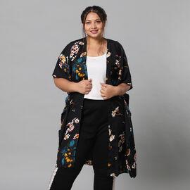 Multi Colour Floral Print Bohemian Look Long Kimono in Black (Size up to 22)