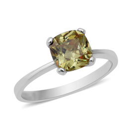 ELANZA Swiss Star Simulated Green Diamond Solitaire Ring in Rhodium Plated Sterling Silver