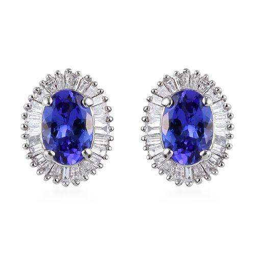 RHAPSODY 950 Platinum AAAA Tanzanite and Diamond Stud Earrings (with Screw Back) 1.25 Ct.