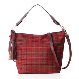 Slouchy Style Burgundy Colour Checker Pattern Tote Bag with Tassel Size 37X12.5X28 Cms