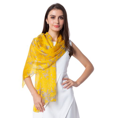 100% Mulberry Silk Yellow and Brown Colour Splash Pattern Scarf (Size 175x53 Cm)