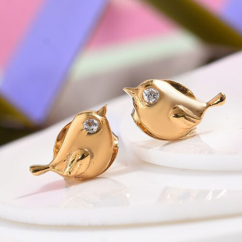 Little Bird Earrings for Children with Zircon in Gold Plated Silver