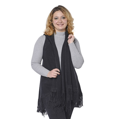 Close Out Deal- Knit Hooded Vest with Tassels (Size 52x85cm)