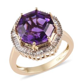 9K Yellow Gold AA Bolivian Amethyst (Octillian 10 mm), Diamond Ring  3.85 Ct.