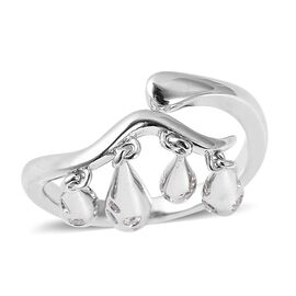 LucyQ Natural White Cambodian Zircon (Rnd) Adjustable Drip Ring in Rhodium Overlay Sterling Silver