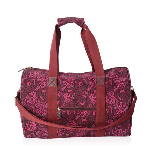 Limited Edition- Water Resistant Dark Fuchsia Flower Pattern Weekend Bag with Removable Shoulder Strap and External Zipper (Size 43x26x23.5 Cm)