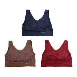 3 Piece Set- Sankom Patent Classic Bra With Lace - Colour Dark Blue, Taupe Brown and Garnet Pink