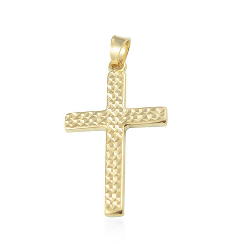 Vicenza Diamond Cut Cross Pendant in 9K Yellow Gold