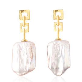 Baroque Pearl Drop Earrings in Yellow Gold Plated Sterling Silver