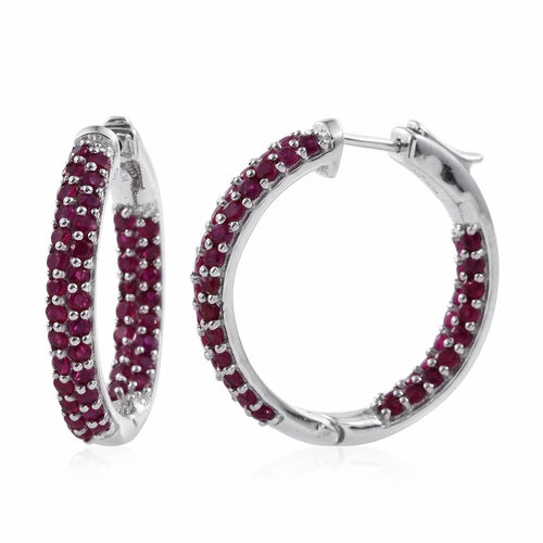 Burmese Ruby (Rnd) Hoop Earrings (with Clasp) in Platinum Overlay Sterling Silver 3.740 Ct. Silver wt 10.00 Gms.