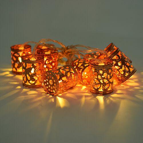 Set of 10 - Rose Colour Cylindrical Shape LED String Lights