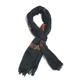 100% Merino Wool Black, Pink and Multi Colour Floral and Leaves Embroidered Scarf with Tassels (Size