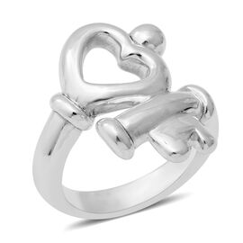 Heart Key Cross Over Ring in Rhodium Plated Sterling Silver 5.92 Grams