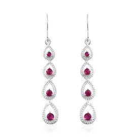 African Ruby (Ruby) Hook Earrings in Sterling Silver 1.000 Ct.