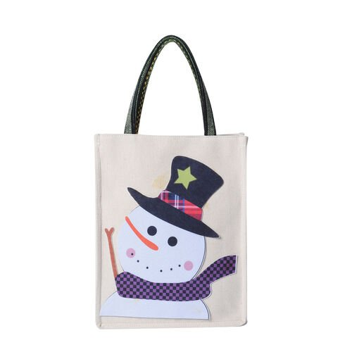 Tote Bag with Snowman Pattern (Size 26x8x32 Cm) - Beige