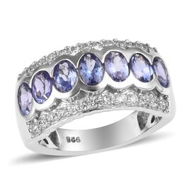 2.50 Ct Tanzanite and Zircon Band Ring in Platinum Plated Sterling Silver