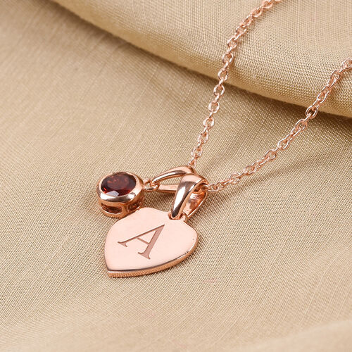 Personalise Engraved Initial and Birthstone Heart Pendant with 20Inch Chain in Silver
