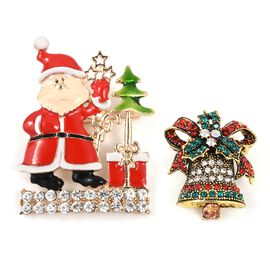 Set of 2 - Multi Colour Austrian Crystal (Rnd) Santa Claus with Christmas Tree and Church Bell Brooc