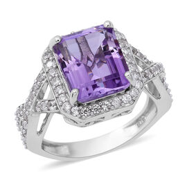 Rose De France Amethyst (Oct 12x10 mm), Natural White Cambodian Zircon Ring (Size Q) in Rhodium Overlay Sterl