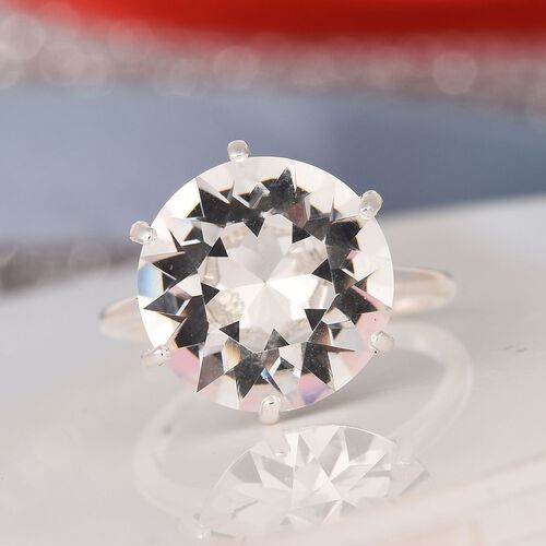 J Francis - Crystal from Swarovski White Crystal Solitaire Ring in Sterling Silver