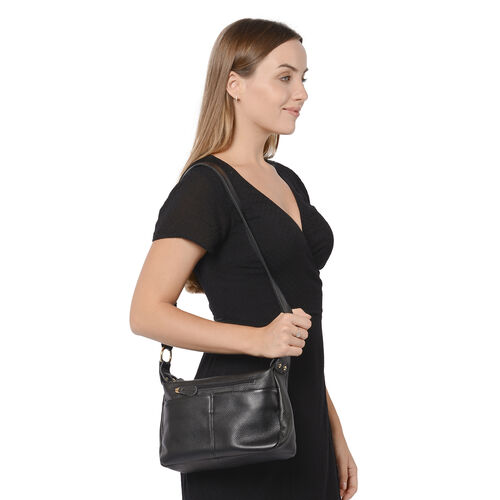 100% Genuine Leather Crossbody Bag with Multiple Pockets and Zipper Closure (Size 28x9x19 Cm) - Black