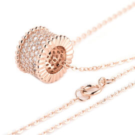 ELANZA Simulated Diamond Charm with Chain (Size 18) in Rose Gold Overlay Sterling Silver - Silver Wt