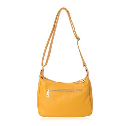Super Soft 100% Genuine Leather Yellow Colour Multi Pocket Crossbody Bag with Adjustable Strap (Size 26.5x8.5x18 Cm)