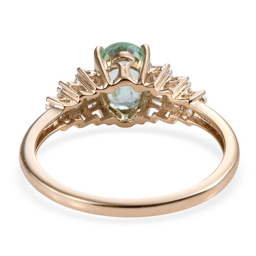 One Time Deal -9K Yellow Gold Boyaca Colombian Emerald (Ovl 7x5 mm), Diamond Ring
