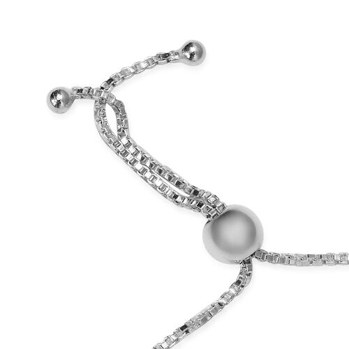 J Francis - Crystal from Swarovski White Pearl Crystal and White Colour Crystal Adjustable Bracelet (Size 6.5-9.5) in Sterling Silver