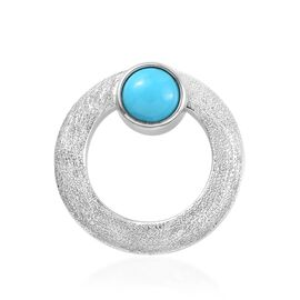 1.15 Ct Arizona Sleeping Beauty Turquoise Circle Pendant in Platinum Plated Sterling Silver