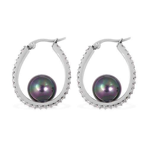 Tahitian Colour Shell Pearl and White Austrain Crystal Beads Hoop Earrings (With Clasp Lock) in Stainless Steel