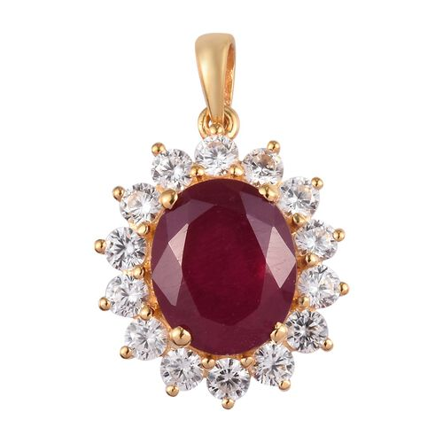 Red Carpet Collection- African Ruby and Natural Cambodian Zircon Pendant  in 14K Gold Overlay Sterli