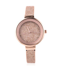STRADA Japanese Movement Water Resistant Watch in Rose Gold Tone with Stardust Dial and Strap