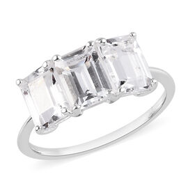 White Topaz 3-Stone Ring in Sterling Silver 3.50 Ct.