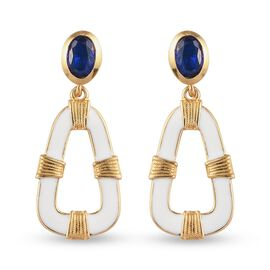Tanzanian Blue Spinel Enamelled Dangling Earrings (with Push Back) in 14K Gold Overlay Sterling Silv