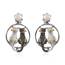 Freshwater Pearl (Rnd), Black and White Diamond Twin Cat Earrings in Platinum and Yellow Gold Overla