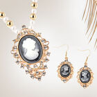 2 Piece Set - Simulated White Pearl, White Austrian Crystal Vintage Style Cameo Necklace (Size 20 wi