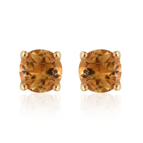 Citrine (Rnd) Solitaire Pendant and Stud Earrings (with Push Back) in 14k Gold Overlay Sterling Silver 1.500 Ct.