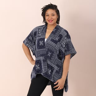 Jovie Ethnic Pattern Kimono in Navy (Size 90x70cm)