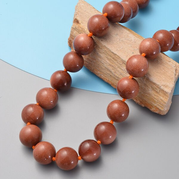 Gold Sandstone (Rnd 17 mm) Beads Necklace (Size 20) with Magnetic Lock in Rhodium Overlay Sterling Silver.