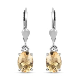 2.25 Ct Citrine Solitaire Drop Earrings in Platinum Plated Sterling Silver
