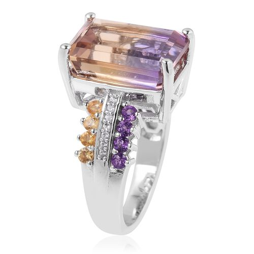 Natural Anahi Ametrine (Oct 14x10 mm), Amethyst,Citrine and Natural White Cambodian Zircon Ring in Rhodium Overlay Sterling Silver 9.380 Ct.