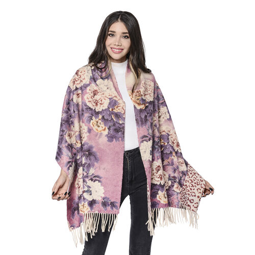LA MAREY Super Soft 100% Lambswool Reversible Beige Leopard and Dusty Pink Floral Pattern Shawl with