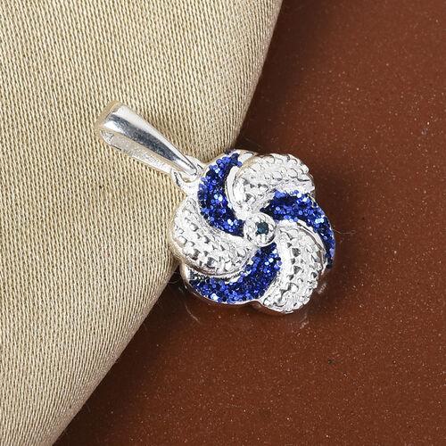 Blue Diamond Swirl Design Pendant in Sterling Silver
