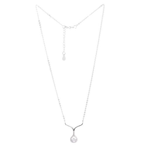 ELANZA AAA Simulated Diamond (Rnd) Necklace (Size 16 with 1.5 inch Extender) in Rhodium Plated Sterling Silver