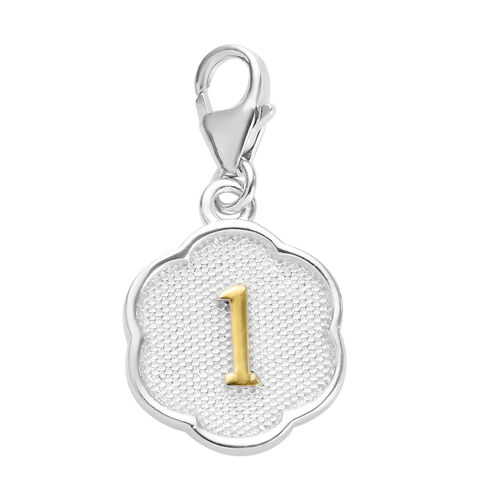 1 Birthday Charm in Platinum and Yellow Gold Overlay Sterling Silver