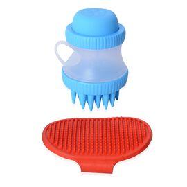 Red and Blue Colour Pet Bath Shampoo Stoup and Brush Set (Size 10.5x8 Cm)